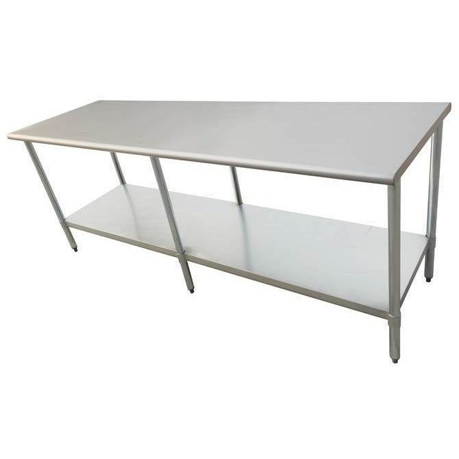 "Stainless Steel Work Prep Table 30"" x 96"" with Undershelf - AT Faucet"