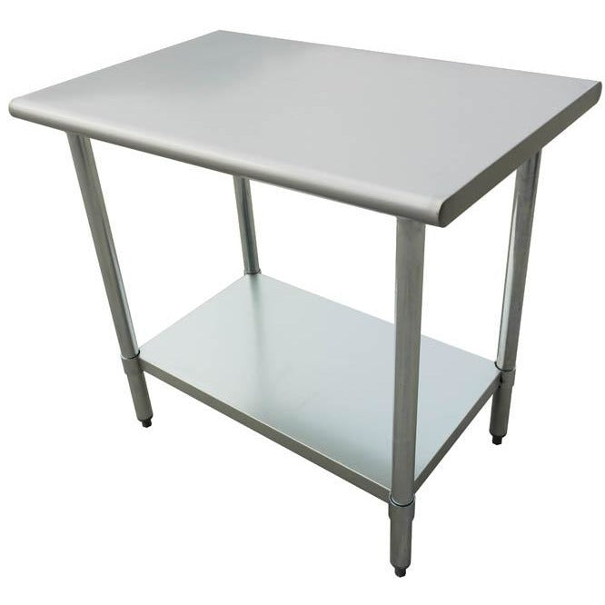 "Stainless Steel Work Prep Table 18"" x 48"" with Undershelf - AT Faucet"