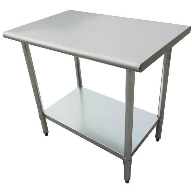 "Stainless Steel Work Prep Table 24"" x 24"" with Undershelf - AT Faucet"