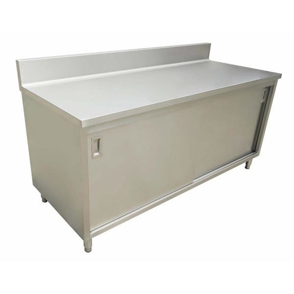 "Commercial Stainless Steel Work Prep Table Cabinet 30"" x 72"" with 4"" Backsplash - AT Faucet"