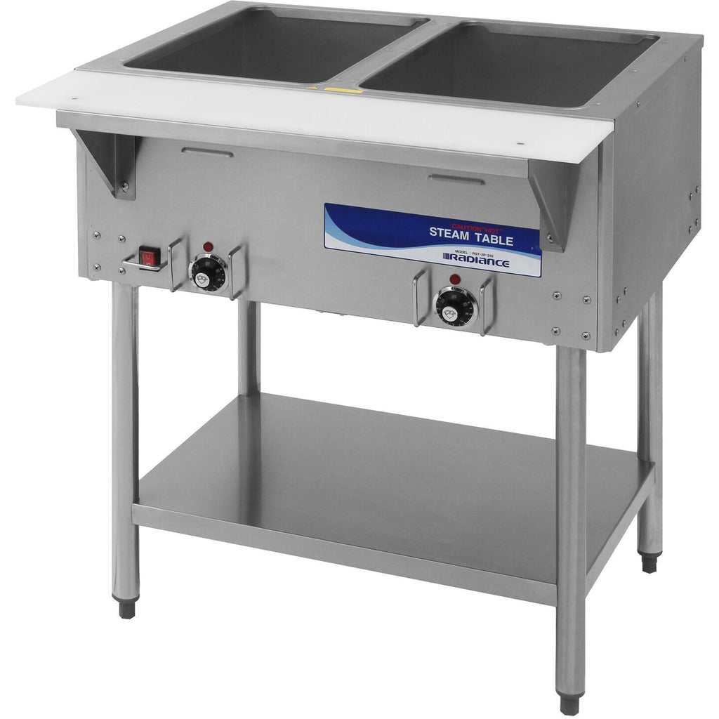 "Radiance Commercial Kitchen 2 Well Electric Steam Table 31"" - AT Faucet"