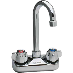 "4"" Center Wall-Mount Faucet with 3-1/2"" Gooseneck Spout - AT Faucet"