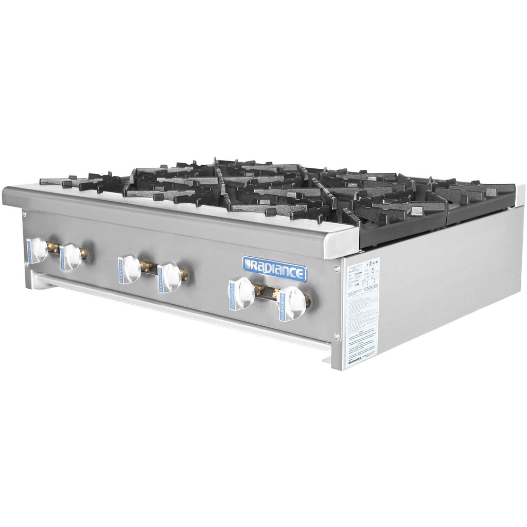 "Radiance Commercial Kitchen Hot Plate Range 36"" 6 Burners - AT Faucet"
