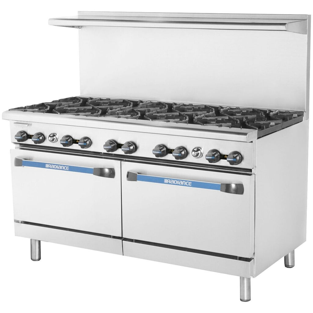 Radiance TAR-10-LP Commercial Kitchen Restaurant Range 10 Burner with Oven LP Gas - AT Faucet
