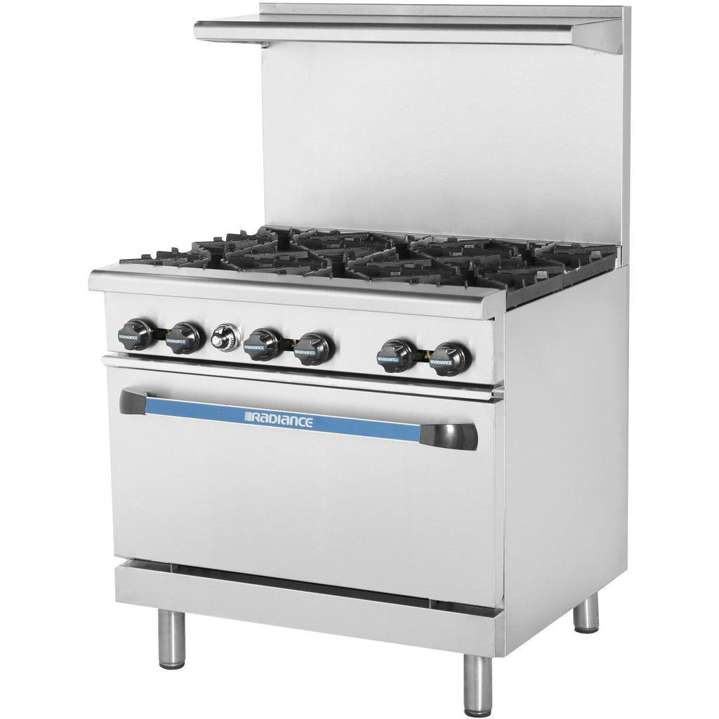 Radiance TAR-6-LP Commercial Kitchen Restaurant Range 6 Burner with Oven LP Gas - AT Faucet