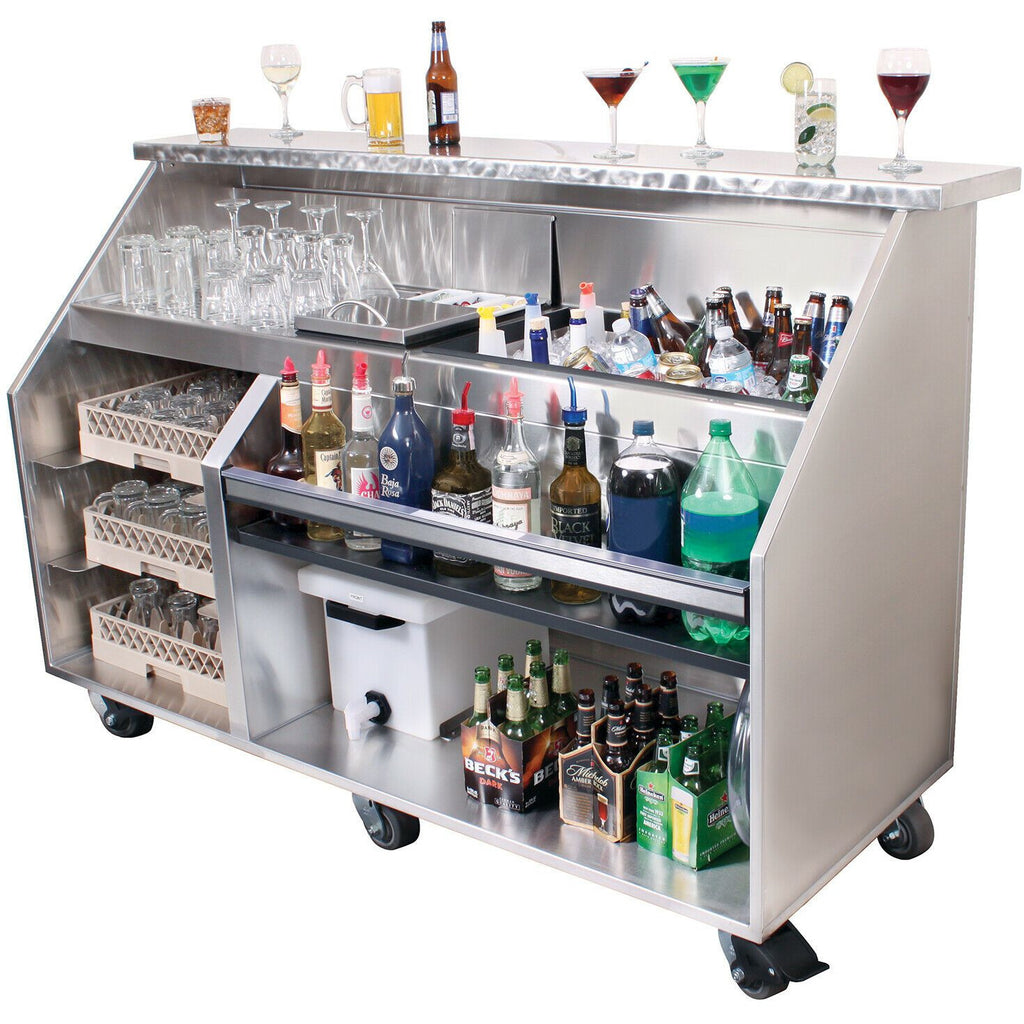 "Glastender Heavy Duty Portable Bar with Casters 72"" - AT Faucet"