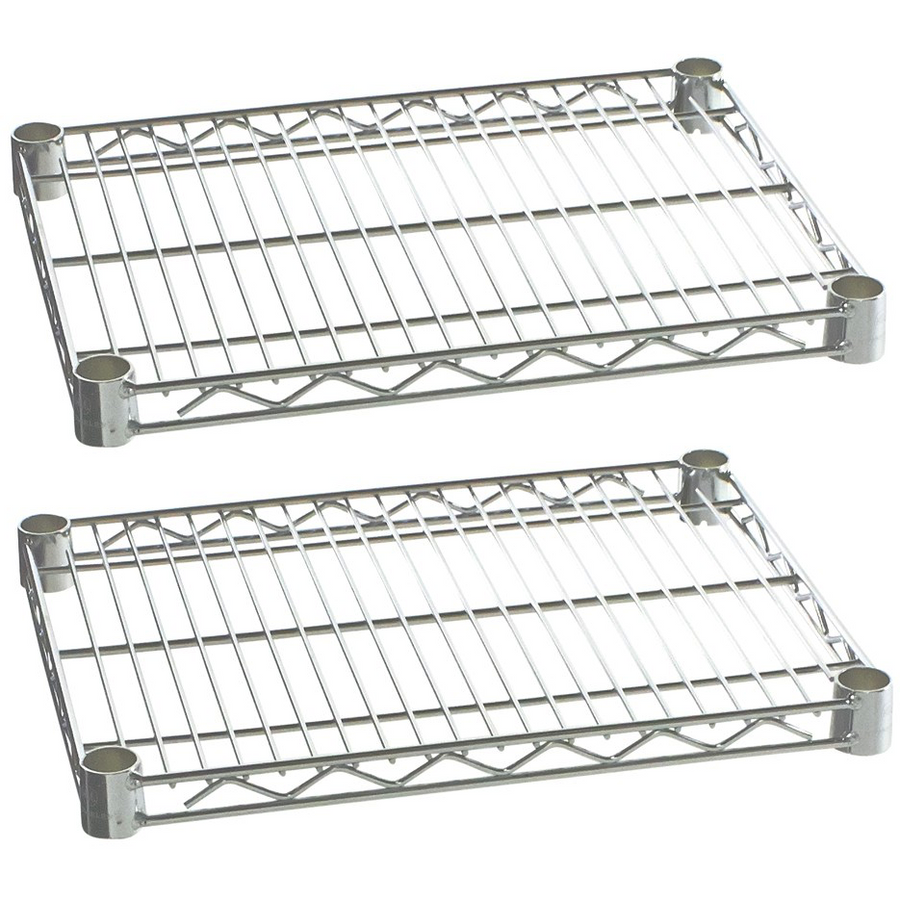"Commercial Kitchen Heavy Duty Chrome Wire Shelves 18"" x 30"" with Clips (Box of 2) - AT Faucet"