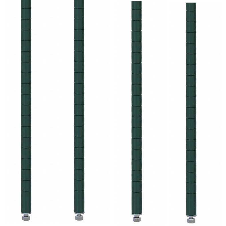 "Commercial Walk-In Box Heavy Duty Green Epoxy Posts for Shelving 63"" (Pack of 4) - AT Faucet"