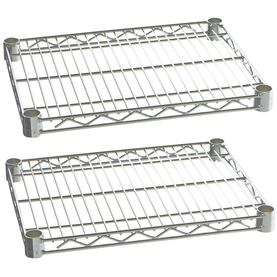 "Commercial Kitchen Heavy Duty Chrome Wire Shelves 24"" x 36"" with Clips (Box of 2) - AT Faucet"