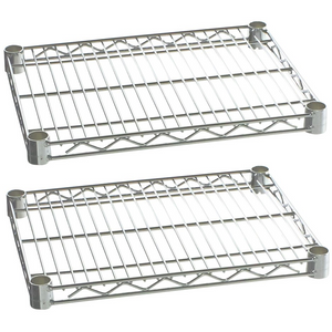 "Commercial Kitchen Heavy Duty Chrome Wire Shelves 21"" x 24"" with Clips (Box of 2) - AT Faucet"