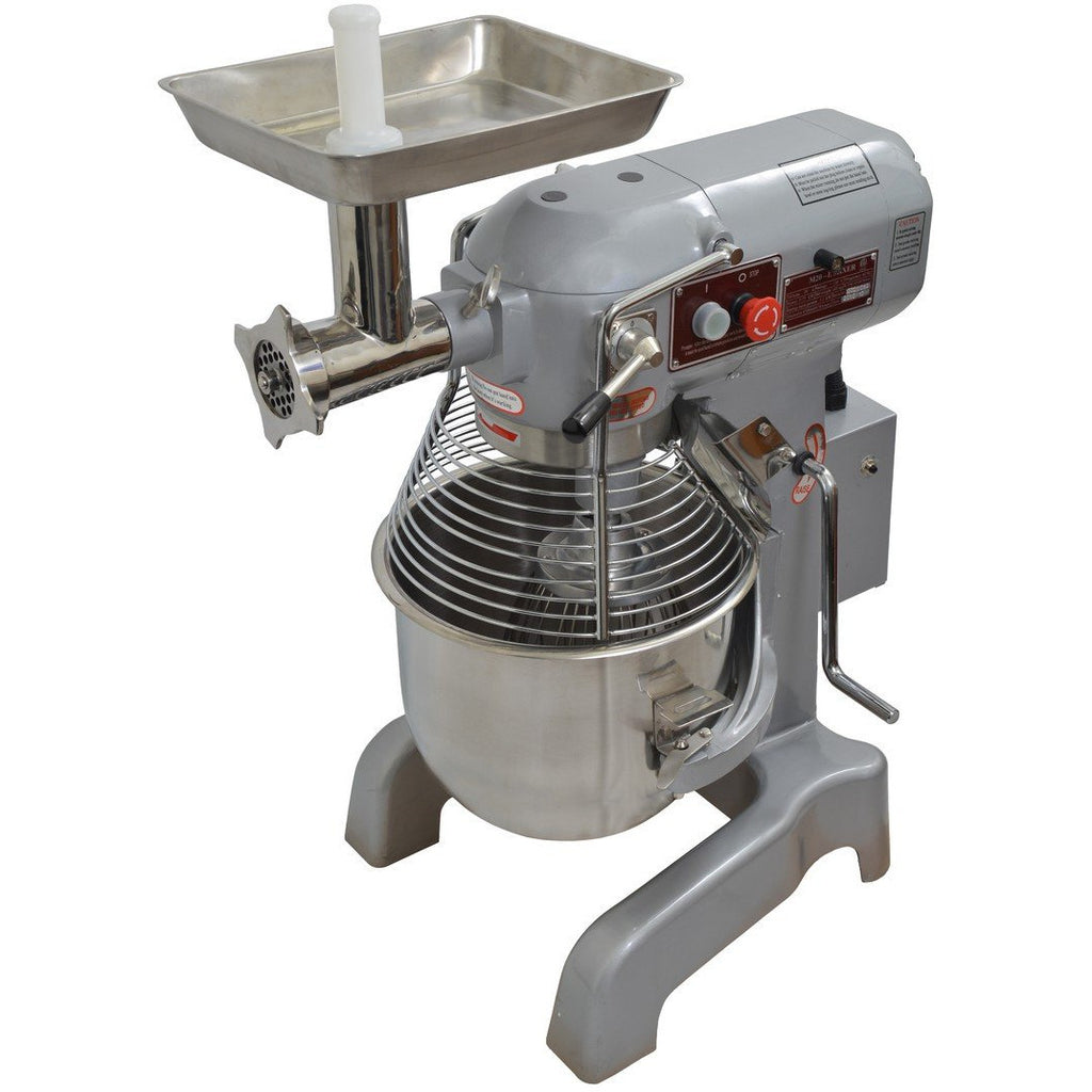 Commercial Kitchen 20 Quart Planetary Mixer with 3 Attachments & Meat Grinder - AT Faucet