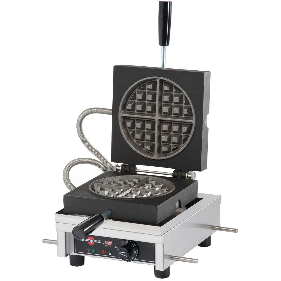 Commercial Countertop Single 90 Degree Opening Round Waffle Maker 120V - AT Faucet