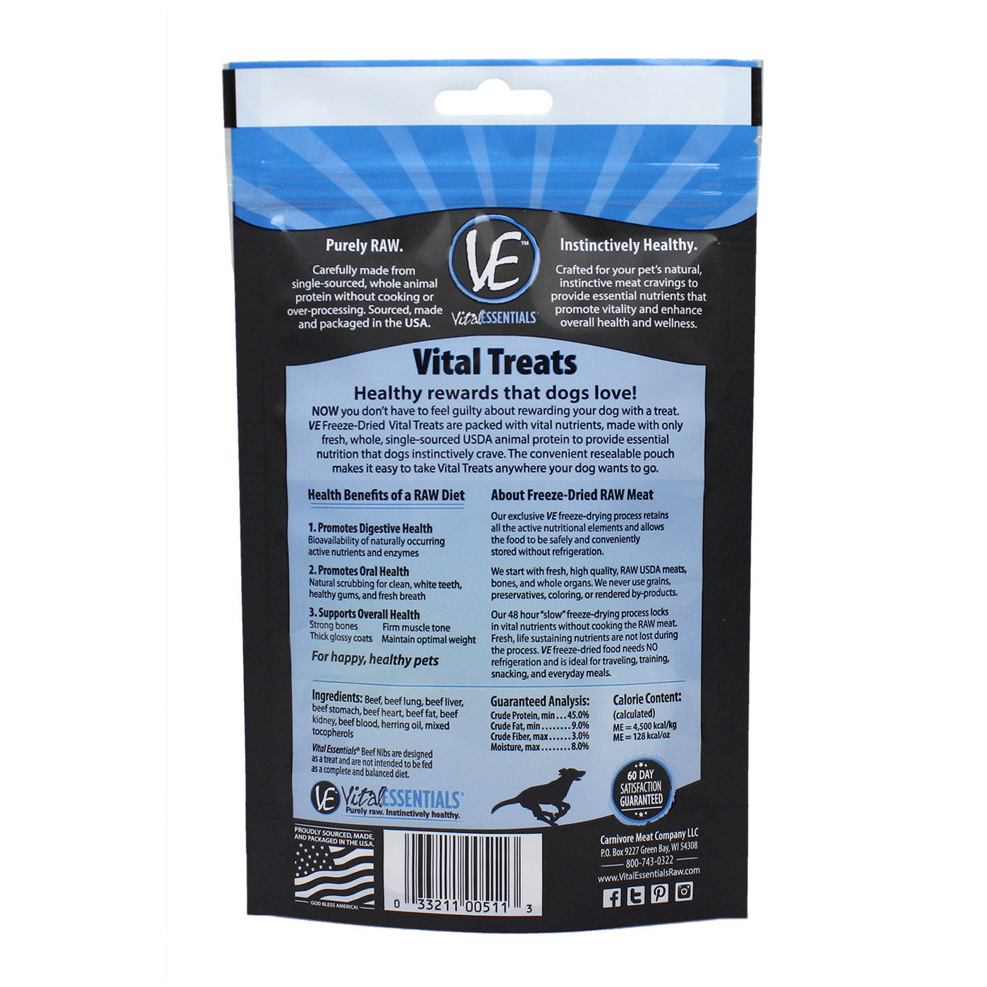 Vital Essentials Beef Nibs Freeze-Dried Treats 2.5oz