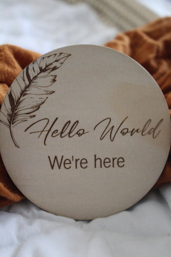 """Hello World, we're here"" raw wooden disc"