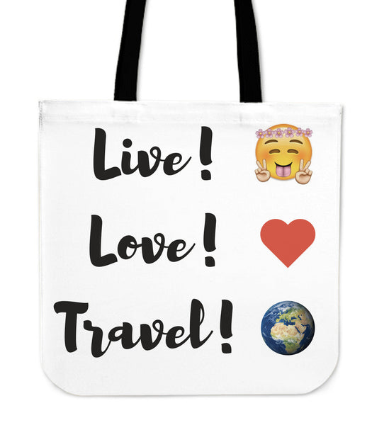 Live! Love! Travel! Canvas Tote