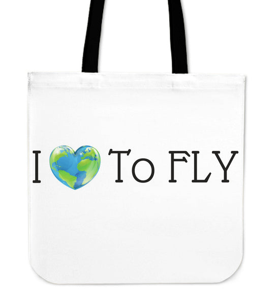 I Love to Fly Canvas Airplane Tote