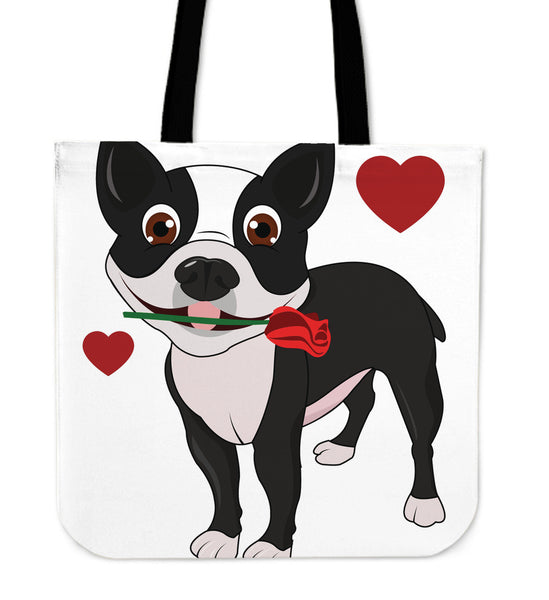 Cute I Love My Boston Terrier Tote Bags