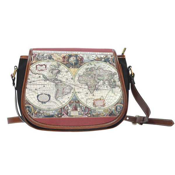 Vintage Globe Saddle Bag - Canvas with Leather Trim