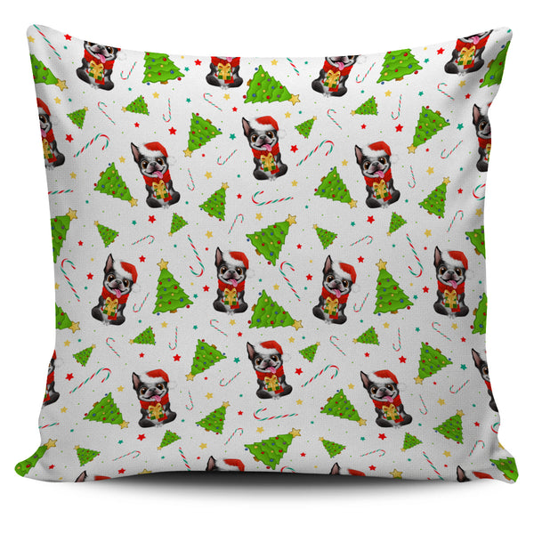 Festive Boston Terrier Christmas Pillow