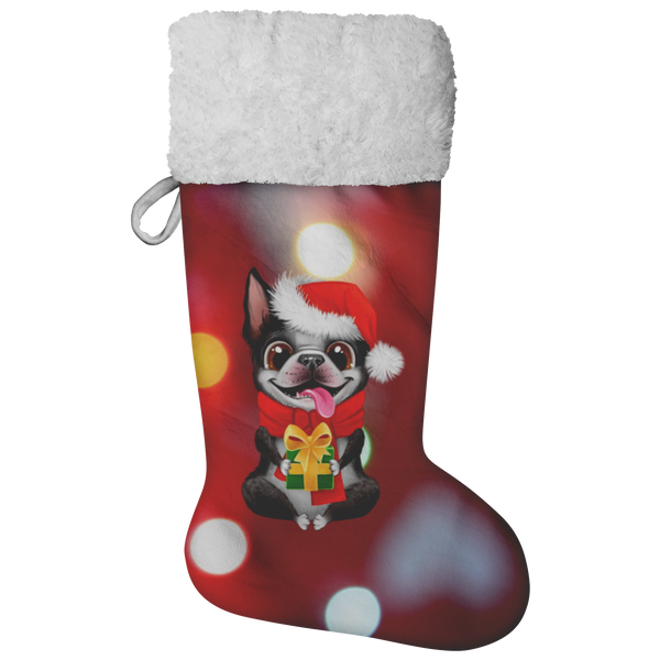 Festive Boston Terrier Christmas Stocking (Holiday Lights)
