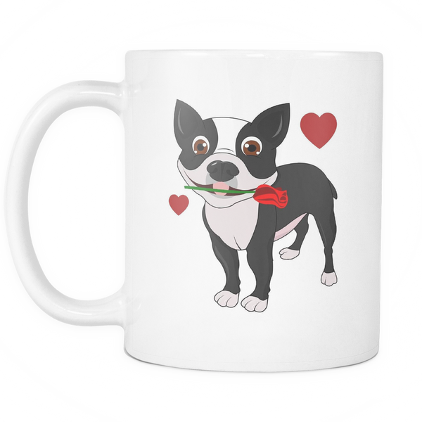 "White ""Boston Terrier in Love"" Mug"