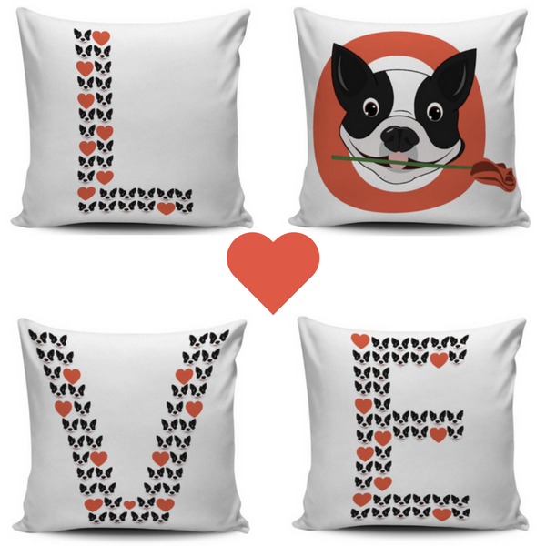 "Boston Terrier ""LOVE"" Pillow Cases"