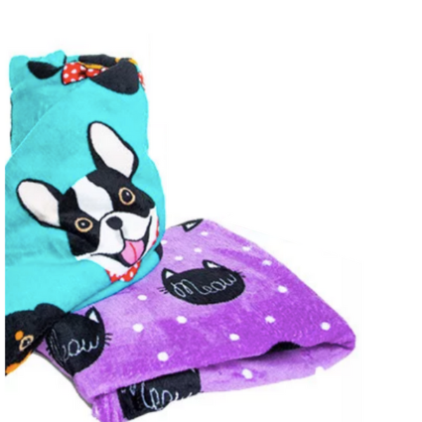 Cute Flannel Boston Terrier and Hotdog Blanket