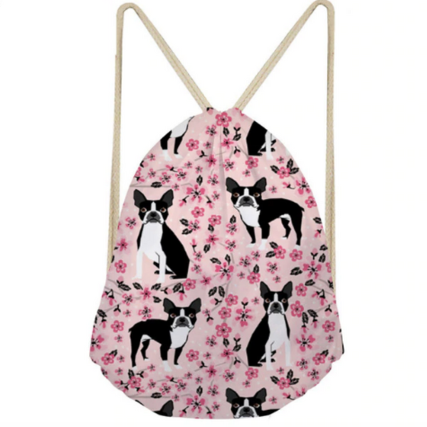 Cute Boston Terrier Pattern Drawstring Backpacks