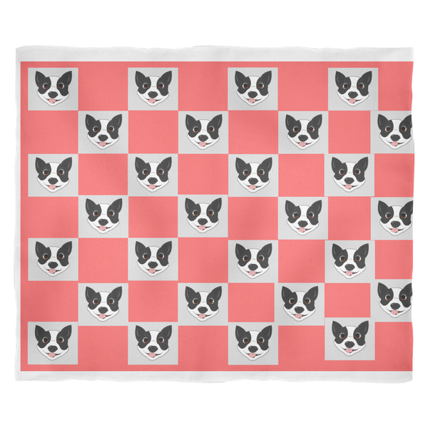 Boston Terrier Chess Style Fleece Blanket