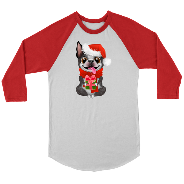 Comfy Christmas Boston Terrier 3/4 Sleeve Shirt