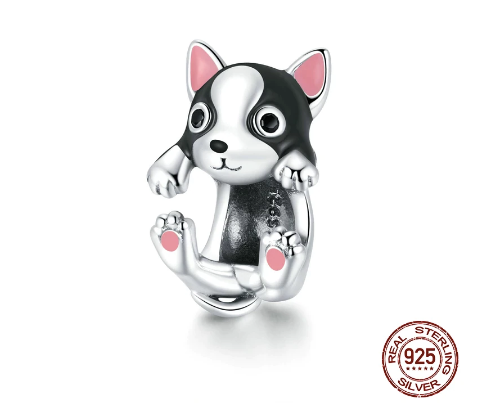 Cute Sterling Silver Boston Terrier Charms (Get a Bracelet Separately with a Discount)