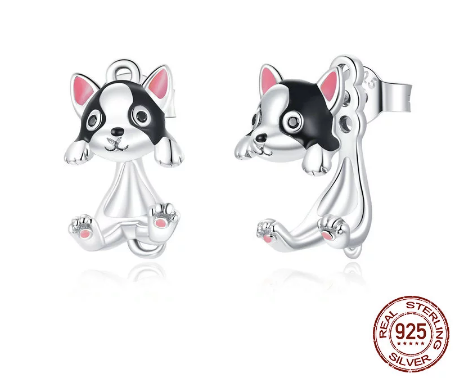 Cute Sterling Silver Boston Terrier Earrings