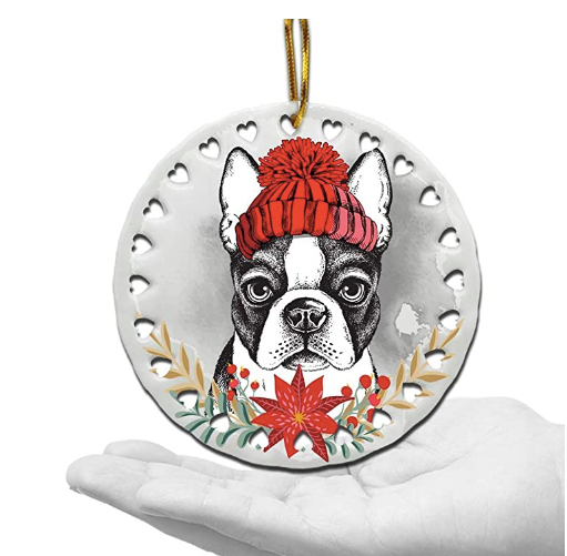 Ceramic Boston Terrier in a Hat Christmas Ornament  - Hearts Design