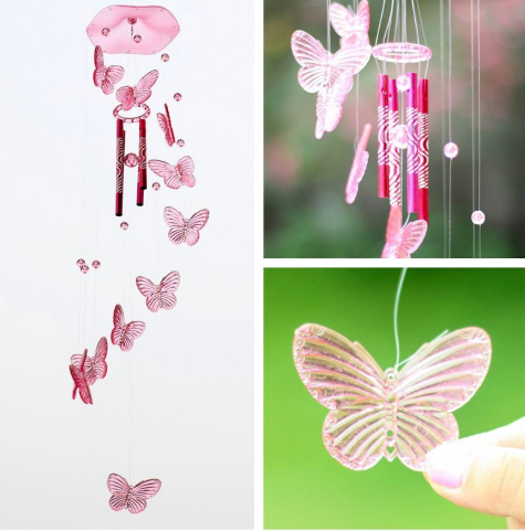 Crystal Butterfly Wind Chime Bell Ornament