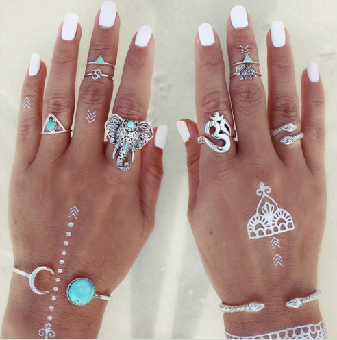 8PCS Vintage Elephant Moon Arrow Ring Set