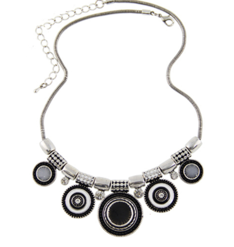 Ethnic Vintage Silver Plated Bead Choker Necklace