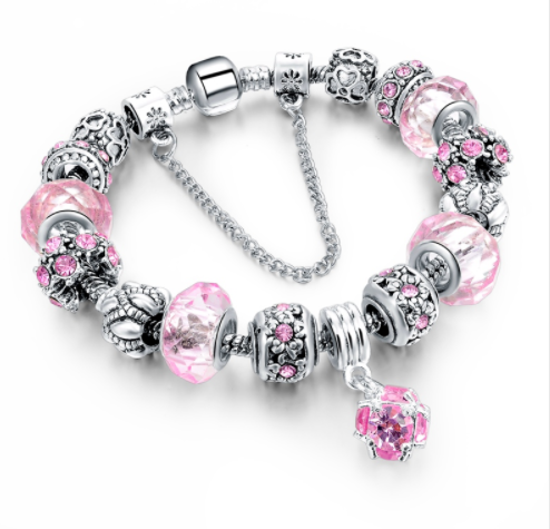 Silver Plated Crystal Charm Bracelet
