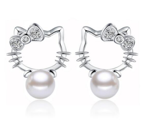 Silver Plated Trendy Hello Kitty Earrings