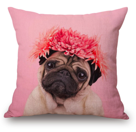 Cute Pug Decorative Pillow Cover