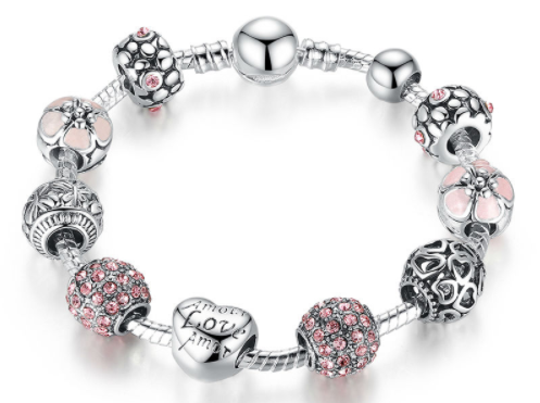 Silver Plated Crystal Heart and Flower Charm Bracelet. Valentine's Special