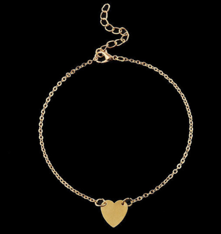 Cute Gold Plated Heart Anklet