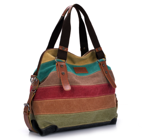 *Striped Canvas Handbag