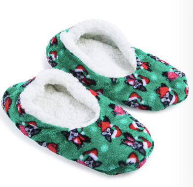 Comfy Cozy Christmas Boston Terrier Faux Sherpa Lined Slippers