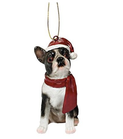 Boston Terrier Christmas Ornament  - Red Scarf & Santa Hat