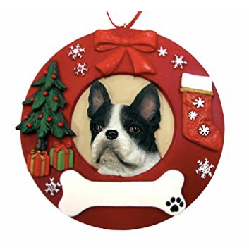 Boston Terrier Christmas Ornament - Personalized Option