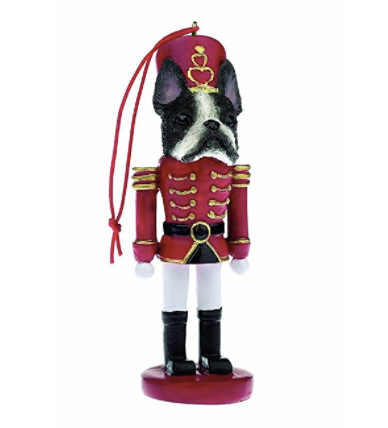 Boston Terrier Christmas Ornament - Guard in Red