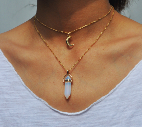 Gold Plated Natural Crystal Moon Choker Necklace