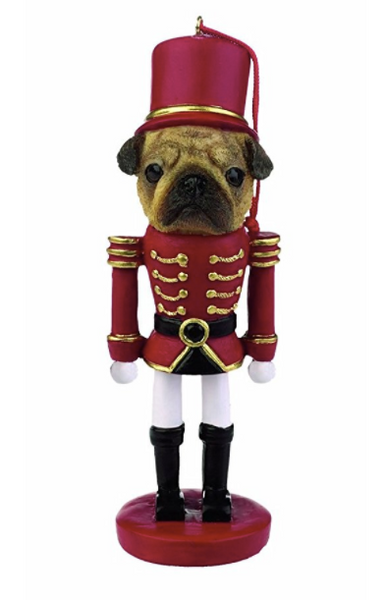 Pug Christmas Ornament - Soldier in Red