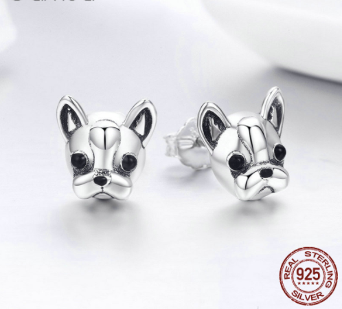 Sterling Silver Boston Terrier Stud Earrings