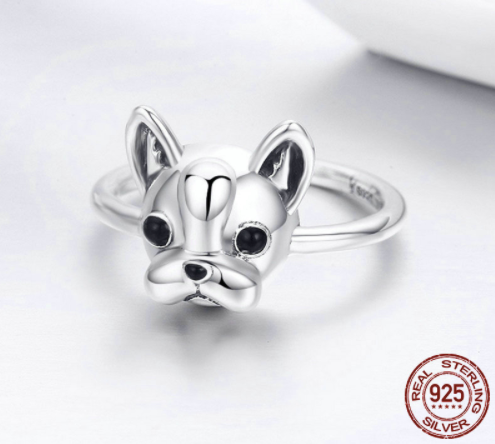 Sterling Silver Boston Terrier Ring
